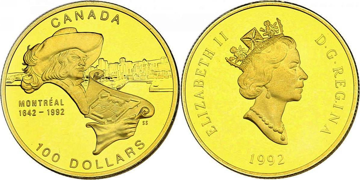 100 Dollar (1/4 oz) 1992 Kanada Montreal (1642-1992) pp.