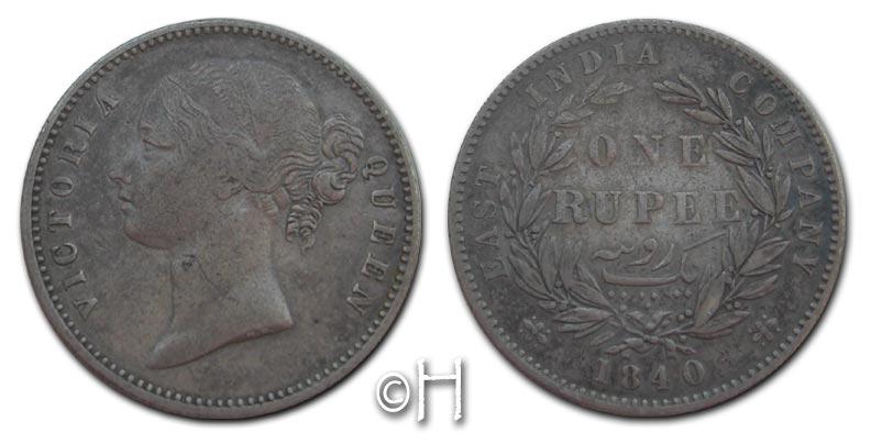 Rupie (Rupee) 1840 Calcutta Indien - Britisch Viktoria (1837 - 1901) ss