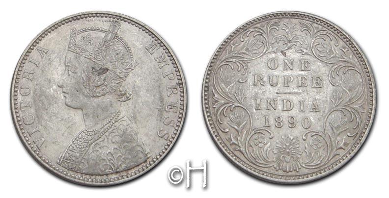 Rupie 1890 B Bombay Indien - Britisch Viktoria (1837 - 1901) vz