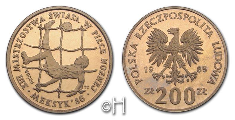 "200 Zloty PROBE 1985 Polen Serie ""Fußball WM Mexiko 1986"" - Spieler/Tor pp."