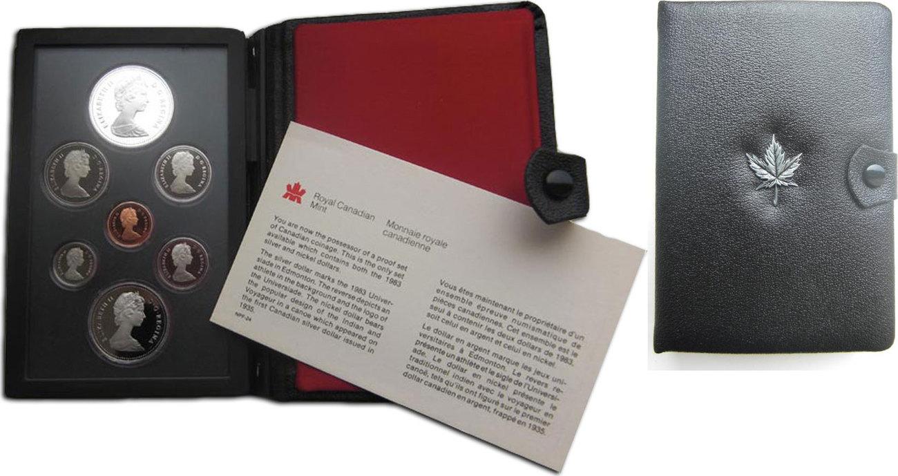 "KMS (Cent-Dollar) + Dollar ""Eisenbahn"" 1981 Kanada ""Royal Canadian Mint"" im Originaletui mit Zertifikat pp."