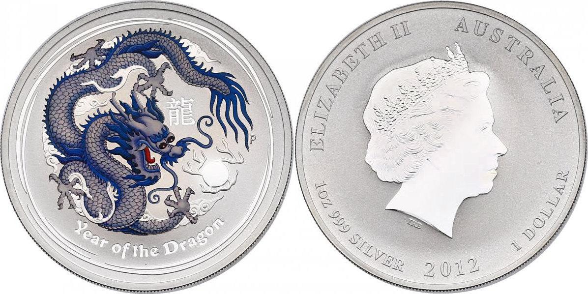 """Dollar 2012 Australien Lunar Serie """"Jahr des Drachen/Year of the dragon"""" (weißer Drache/white dragon) unc. mir Farbapplikation"""