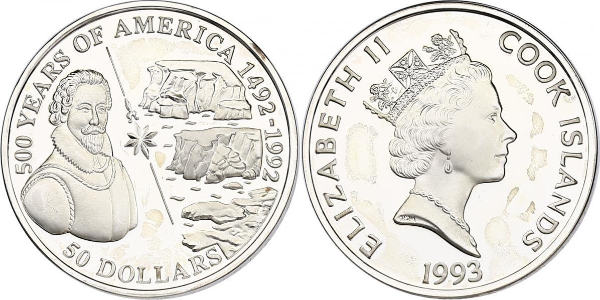 """50 Dollar 1993 Cook Inseln (Cook Islands) Serie """"500 Years of America"""" - Sir Martin Frobisher pp. in Münzkapsel"""