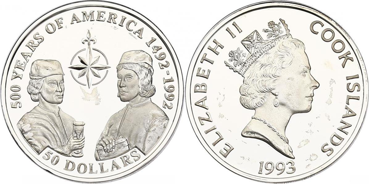 "50 Dollar 1993 Cook Inseln (Cook Islands) Serie ""500 Years of America"" - Pinzon Brüder pp. in Münzkapsel"
