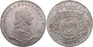 Taler 1778 M Salzburg Hieronymus von Colloredo (1772 - 1803) vz/f.stgl.