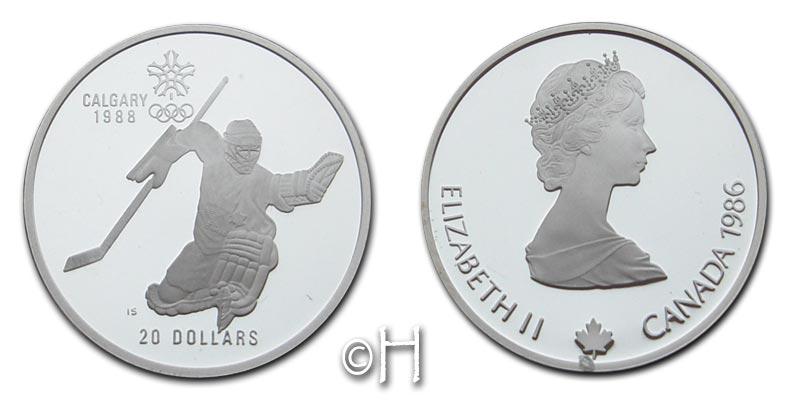 "20 Dollar 1985 Kanada Serie ""Olympiade Calgary 1988"" - Eishockey pp"