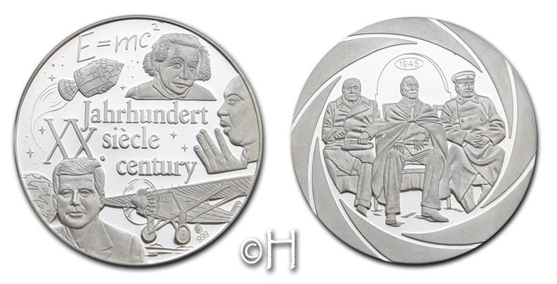 """Ag-Medaille o.J. Deutschland """"Chronik des 20. Jahrhunderts"""" (Einstein, Kennedy, Martin Luther King) pp."""