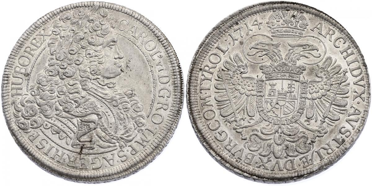 Taler 1714 Wien RDR Karl VI. (1711 - 1740) f.stgl.