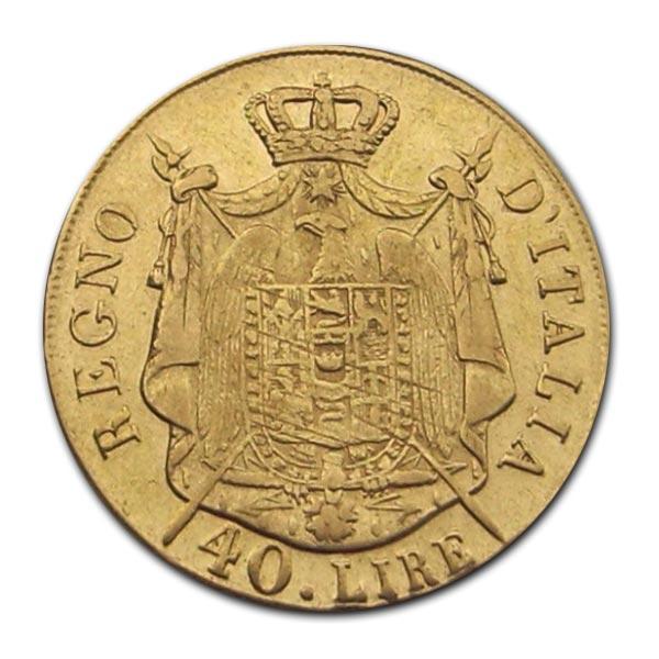 40 Lire 1808 M Italien - Königreich Napoleon Napoleon (1804 - 1815) ss/f.vz, erhabene Randschr.