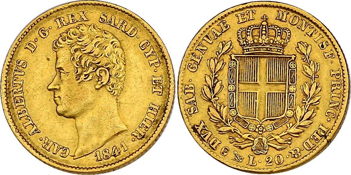 20 Lire 1841 P (Anker) Italien - Sardinien Karl Albert (1831 - 1849) ss/f.vz