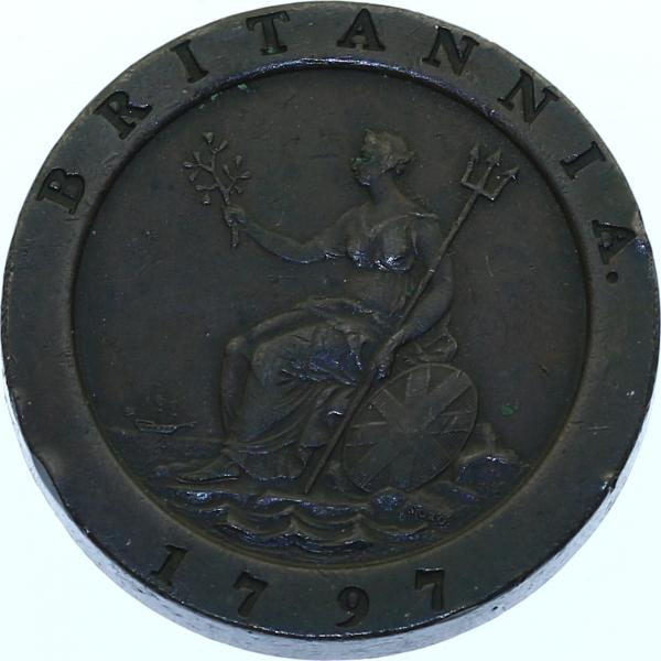 2 Pence 1797 Großbritannien Georg III. (1760 - 1820) min. Randfehler, ss+