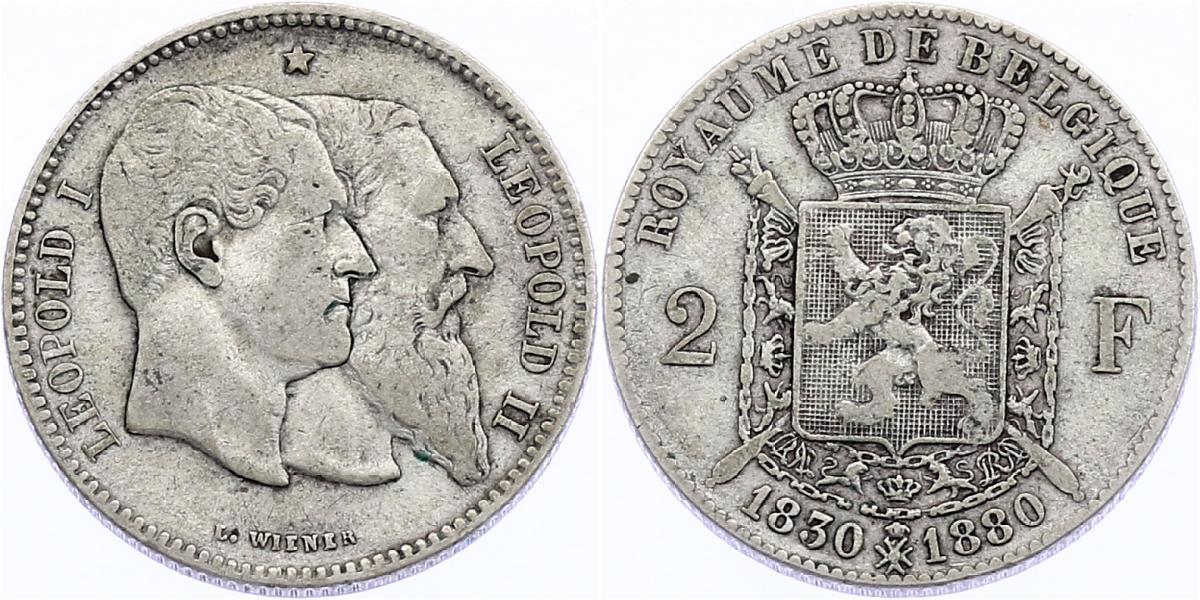 """2 Francs 1880 Belgien """"50. Jubiläum"""" Leopold I./Leopold II. ss, R"""