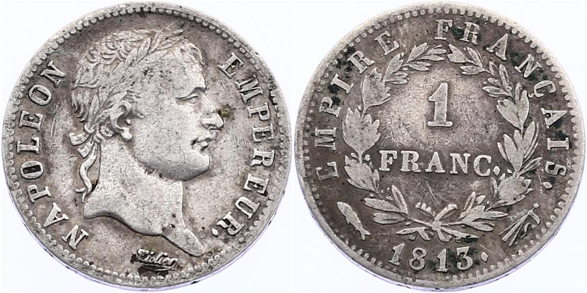 Franc 1813 Utrecht Frankreich Napoleon I. (1804 - 1815) ss, RR