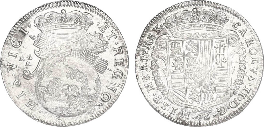 20 Grana 1687 AG/A Italien - Neapel & Sizilien Karl II. (1665 - 1700) vz-stgl.