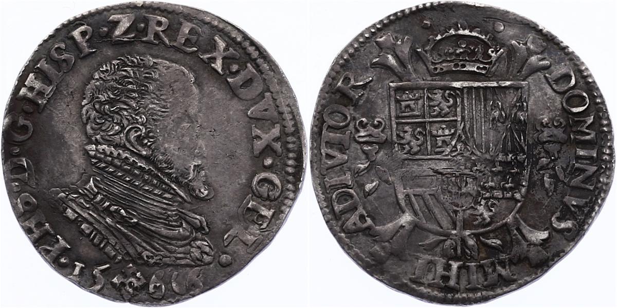 1/4 Taler 1566 Spanische Niederlande Philipp II. (1556 - 1598) ss/f.vz