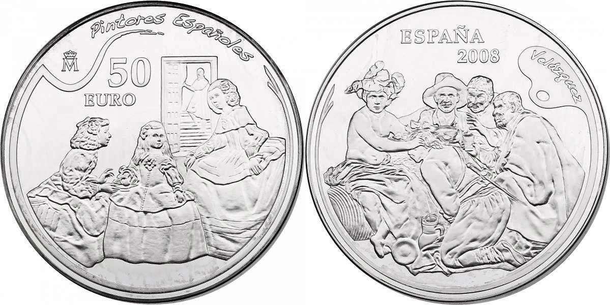 50 Euro 2008 Spanien Diego Rodríguez de Silva y Velázquez - Las Meninas/The Triumph of Bacchus pp. im Originaletui mit Zertifikat