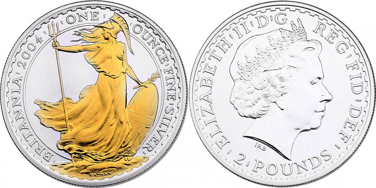 "2 Pounds 2004 Großbritannien ""Britannia"" unc. mit Goldapplikation"