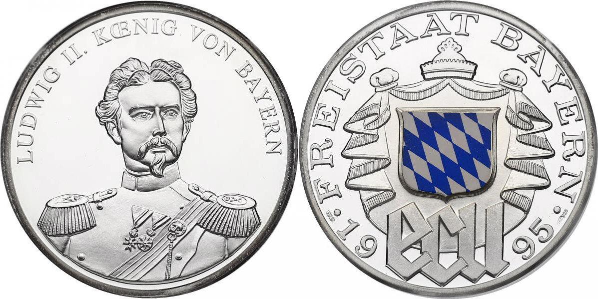 """Ag-Medaille 1995 Deutschland - Bayern """"Ludwig II. - König von Bayern"""" pp. mit Farbapplikation"""