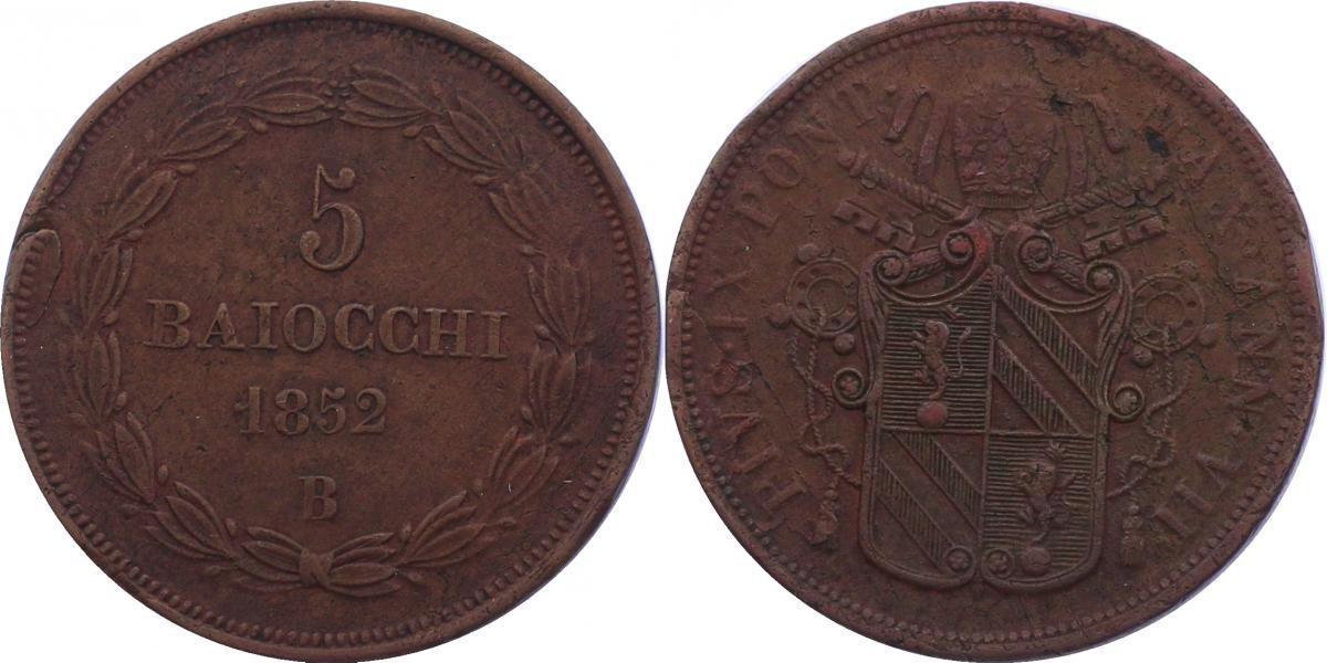 5 Baiocchi (Jahr VII) 1852 B Vatikan Pius IX. (1846 - 1878) min. Prägef. am Rand, vz