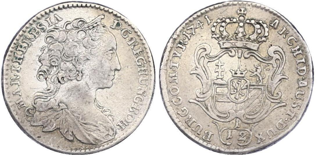 1/12 Taler 1741 Hall RDR Maria Theresia (1740 - 1780) f.vz, R
