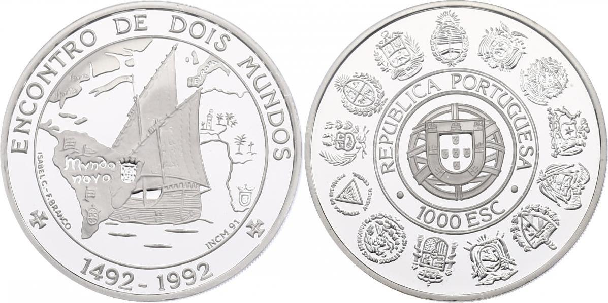 "1000 Escudos 1992 Portugal ""Segelschiff"" pp."