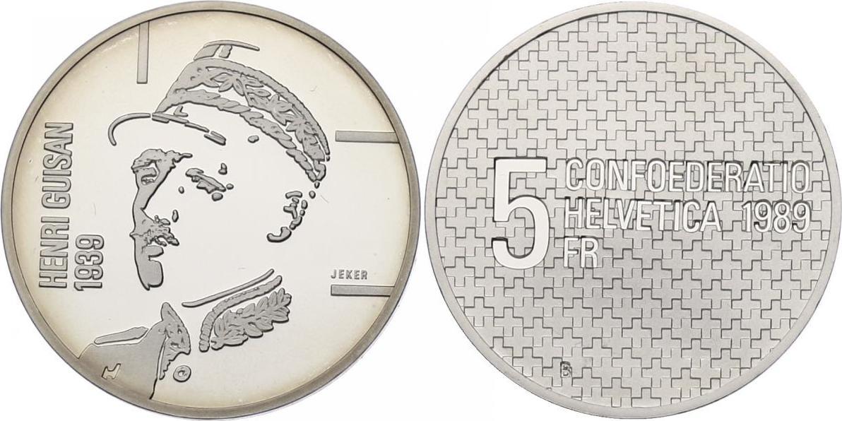 """5 Franken 1989 Schweiz """"Henri Guisan"""" PP, in Originaletui"""