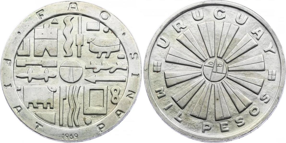 "1000 Pesos 1969 Uruguay Serie ""FAO"" unc."