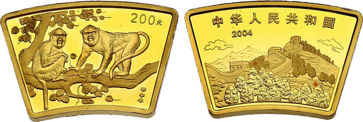 "200 Yuan (1/2 oz) 2004 China Lunar Serie - ""Jahr des Affen"" pp. LOSE (ohne Etui und Zertifikat)"