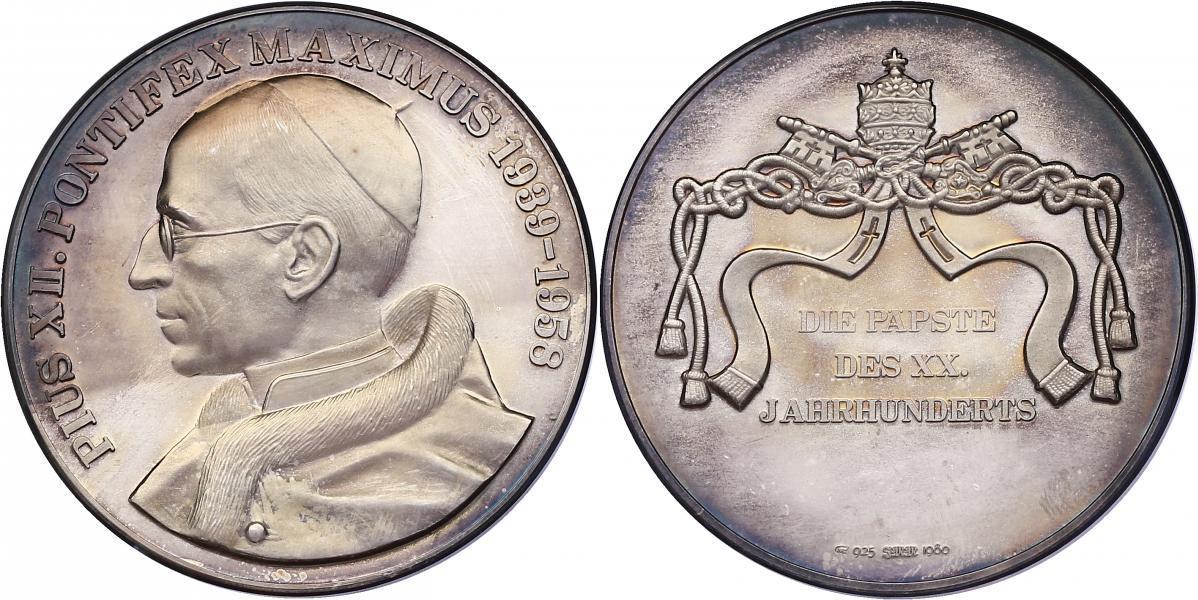 "Ag-Medaille o.J. Vatikan Serie ""Die Päpste des XX. Jahrhunderts"" - Pius XII. pp"