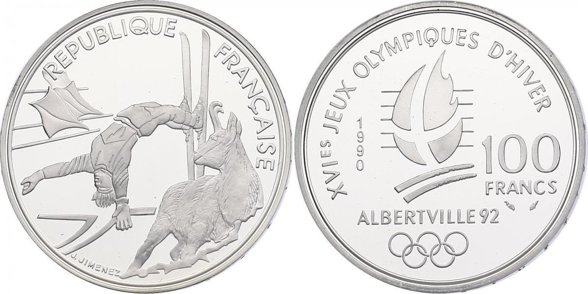 """100 Francs 1990 Frankreich Serie """"Olympische Winterspiele Albertville '92"""" - Freestyle pp. in Originaletui mit Zertifikat"""