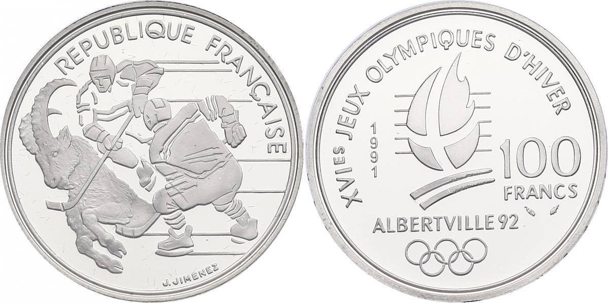 """100 Francs 1992 Frankreich Serie """"Olympische Winterspiele Albertville '92"""" - Eishockey pp. in Originaletui mit Zertifikat"""