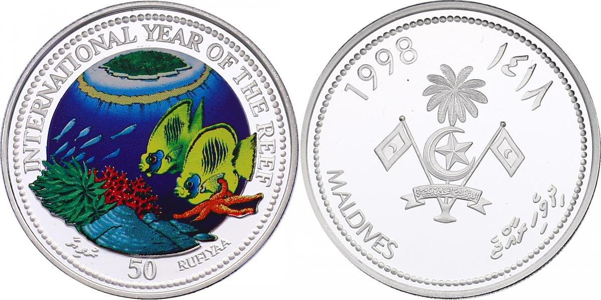 """50 Rudiyaa 1998 Malediven """"National Year of the Reef"""" (Fische) pp."""