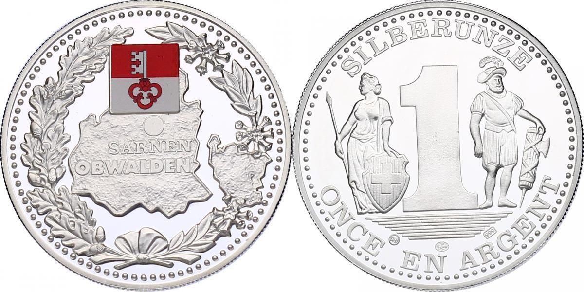 """Ag-Medaille o.J. Schweiz Serie """"Schweizer Kantone"""" - Obwalden (Sarnen) PP mit Farbapplikation"""