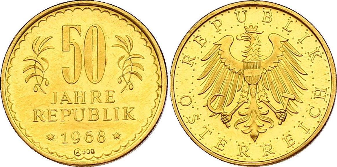 "Au-Medaille 1968 Österreich - II. Republik ""50 Jahre Republik"" vz/f.stgl., R"