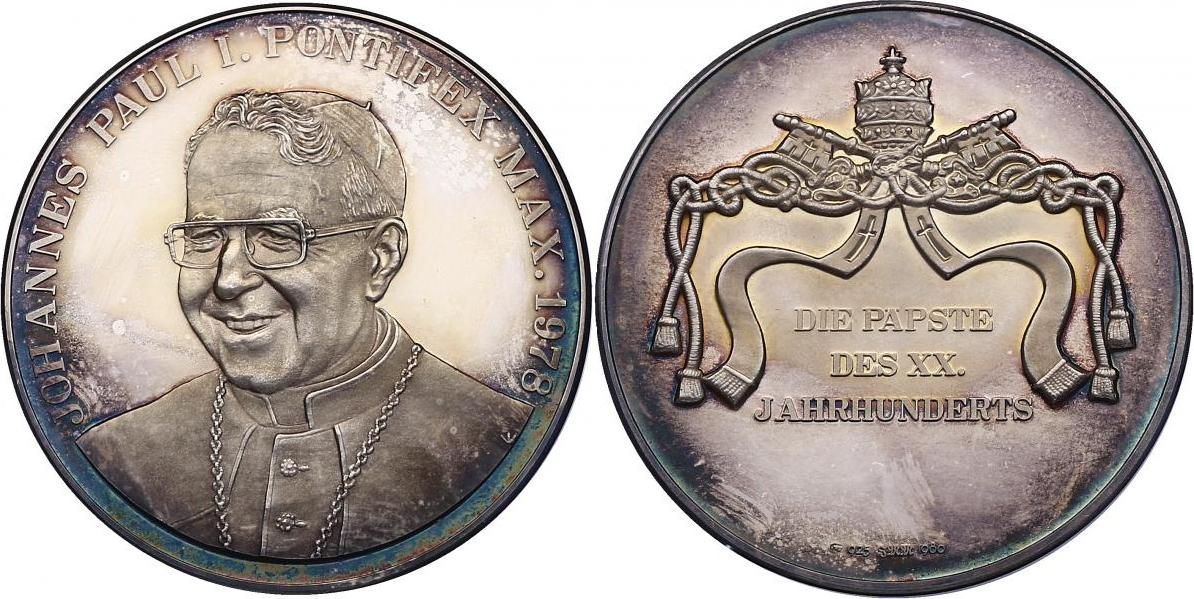 "Ag-Medaille 1980 Vatikan Serie ""Die Päpste des XX. Jahrhunderts"" - Johannes Paul I. pp."