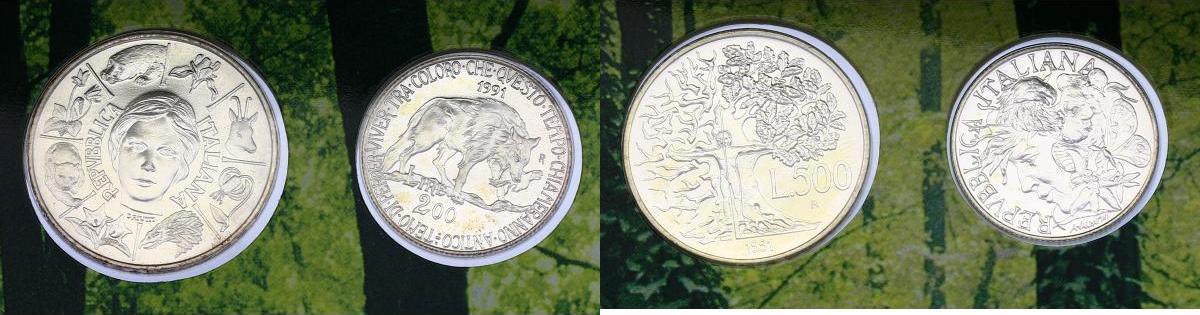 "500 Lire + 200 Lire 1991 Italien ""Flora e fauna d'Italia"" stgl. im Blister"