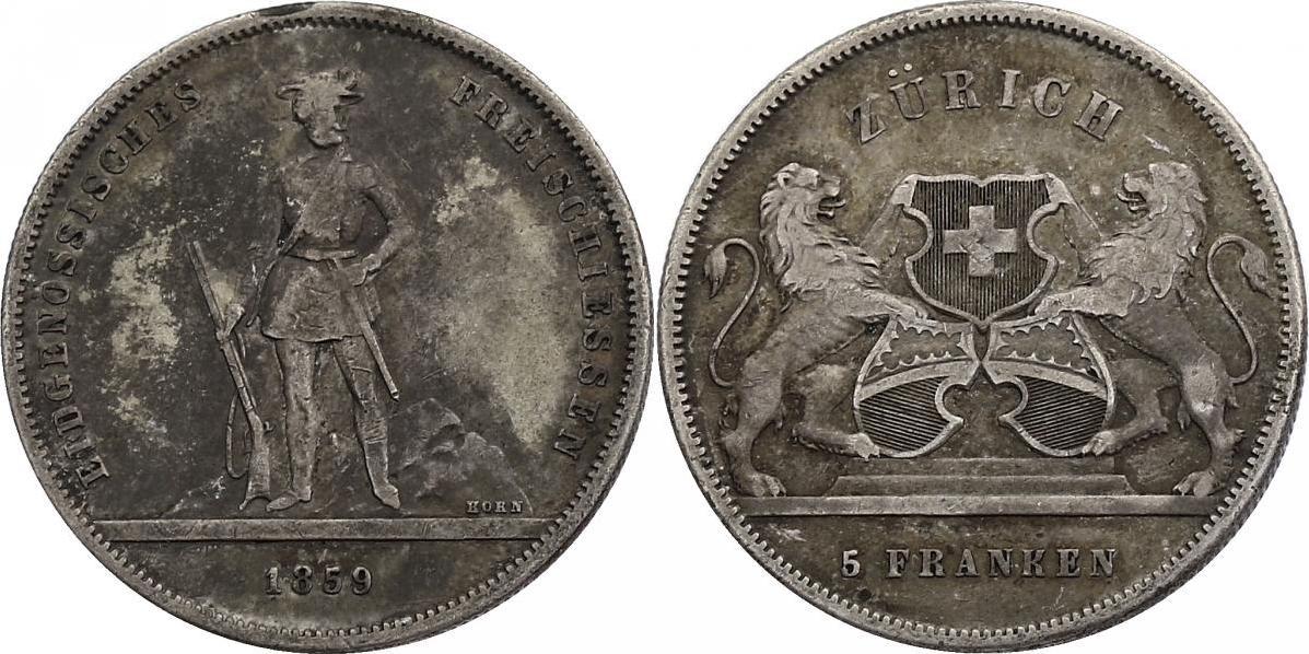 """5 Franken 1859 Schweiz """"Schützentaler Zürich"""" f.ss/ss"""