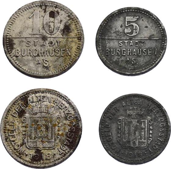 """Notgeld (10 + 5 Pfennig) 1918 Deutschland - Bayern """"Notgeld der alten Herzosstadt"""" ss"""