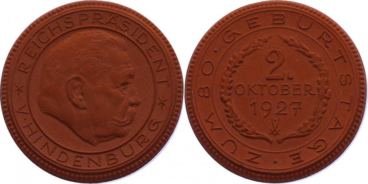 """Medaille 1927 Deutschland """"Zum 80. Geburtstag 2. Oktober 1927"""" - Hindenburg vz"""