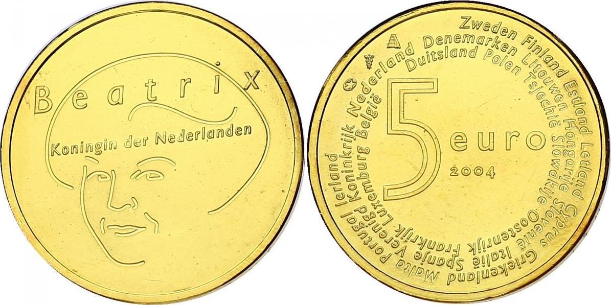 """5 Euro 2004 Niederlande """"EU - Erweiterung"""" (Beatrix) unc. vergoldet"""
