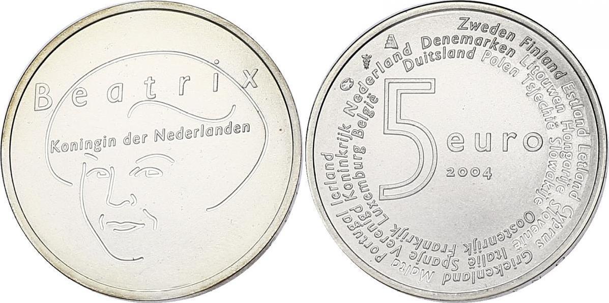 """5 Euro 2004 Niederlande """"EU - Erweiterung"""" (Beatrix) unc."""