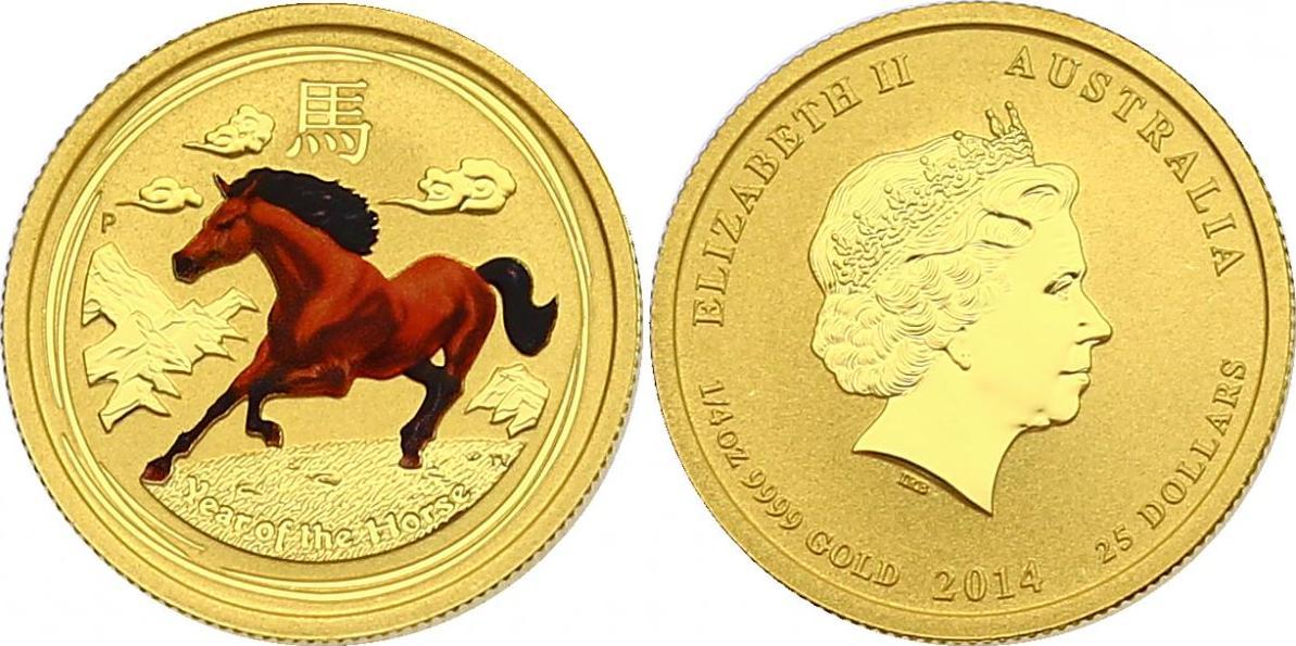 """25 Dollar 2014 Australien Lunar Serie - """"Jahr des Pferdes"""" unc. mit Farbmotiv, R!"""