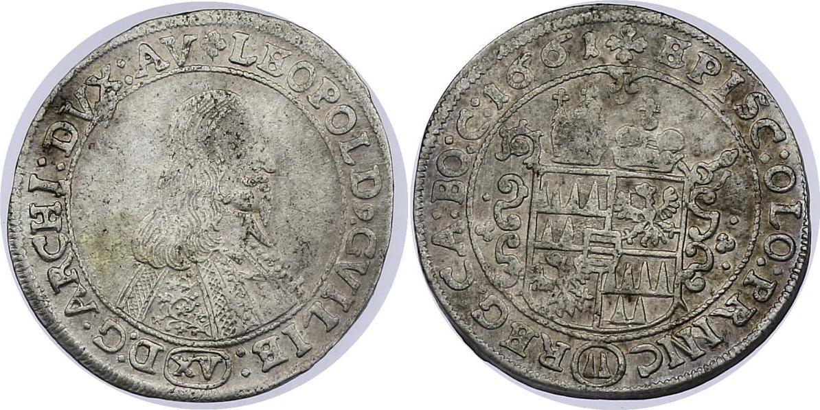 XV Kreuzer (kleines Portrait) 1661 Olmütz Leopold Wilhelm (1637 - 1662) ss+, R
