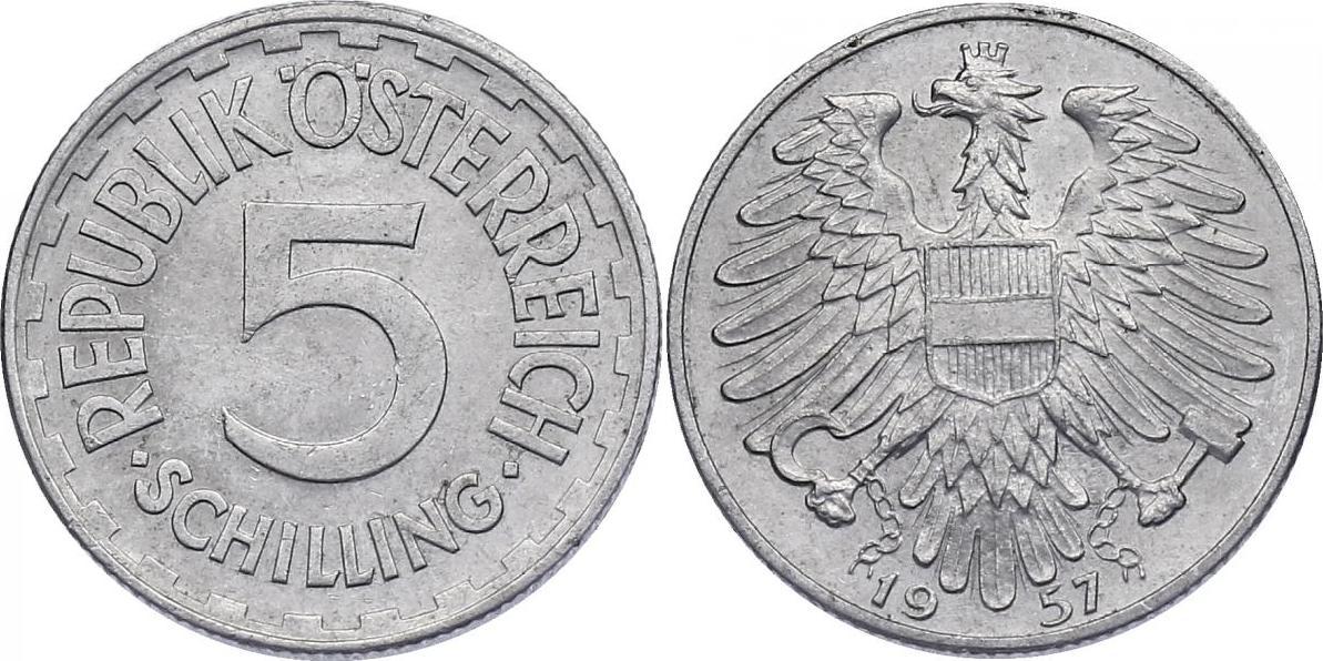 5 Schilling 1957 Österreich - II. Republik vz, R