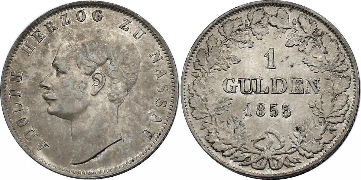 Gulden 1855 Deutschland - Nassau Adolph (1839 - 1866) vz