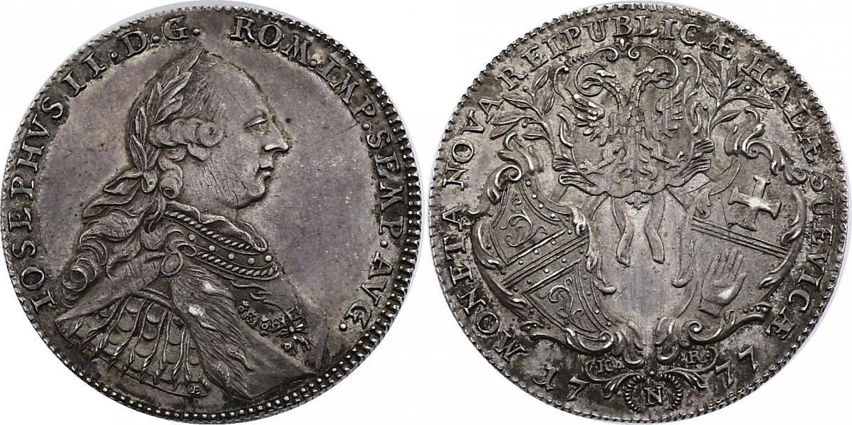 1/2 Taler 1777 N/KR Deutschland - Schwäbisch Hall Joseph II. (1765 - 1790) vz+