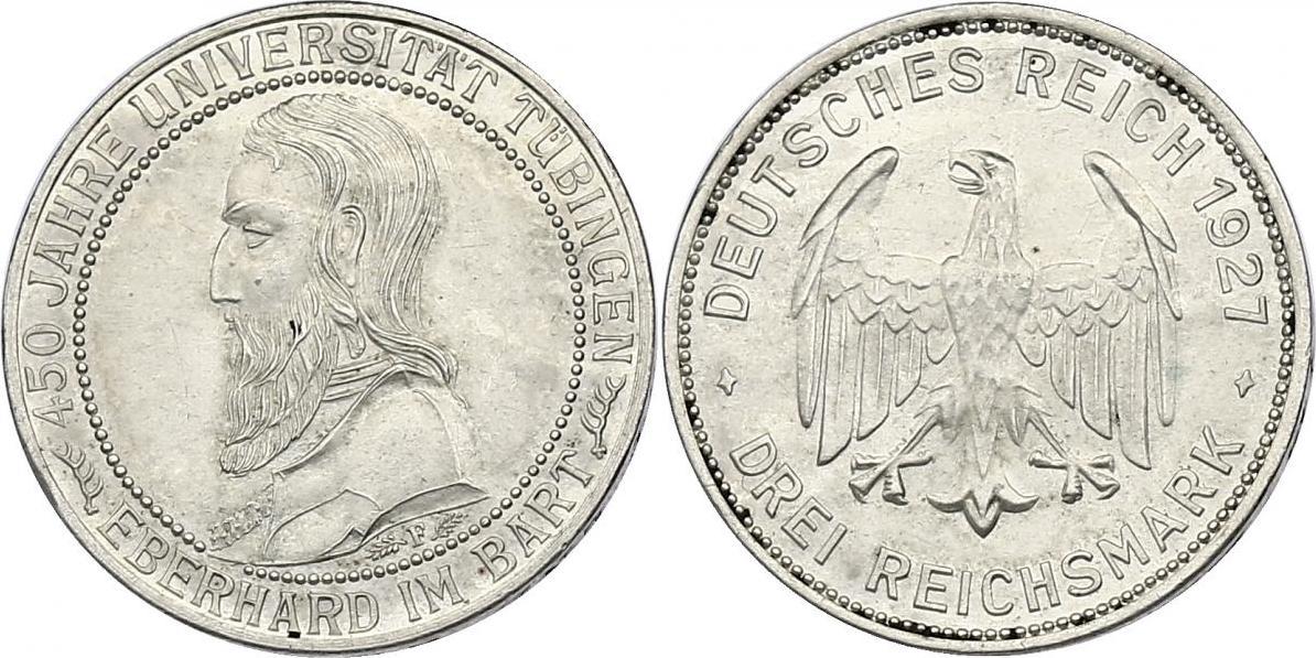 """3 Reichsmark 1927 F Deutschland - Weimar """"450 Jahre Universität Tübingen - Eberhard im Bart"""" f.stgl."""