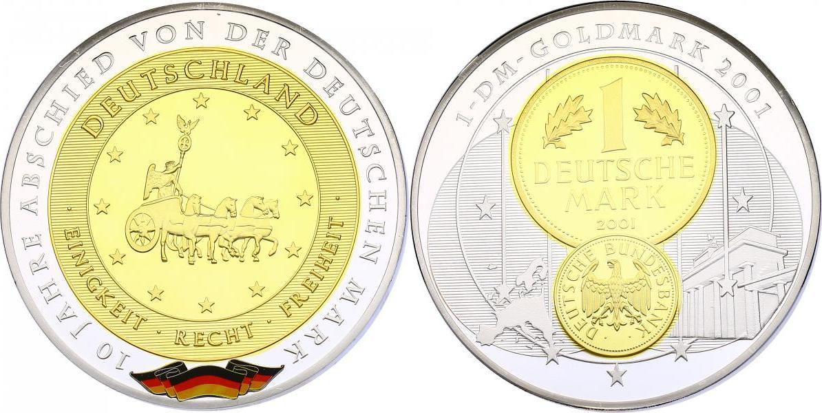 """Medaille (Gigant) o.J. (2011) Deutschland Serie """"10 Jahre Abschied von der Deutschen Mark"""" pp. versilbert mit Goldapplikation"""