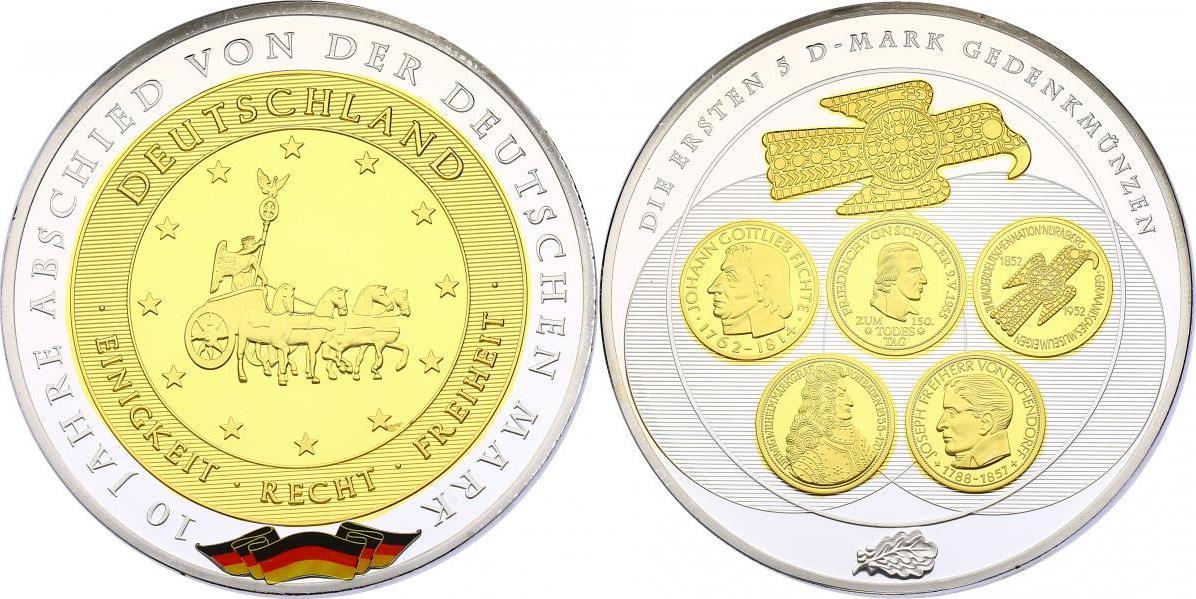 """Medaille (Gigant) o.J. (2011) Deutschland Serie """"10 Jahre Abschied von der Deutschen Mark"""" - 5 DM Gedenkmünzen pp. versilbert mit Goldapplikation"""