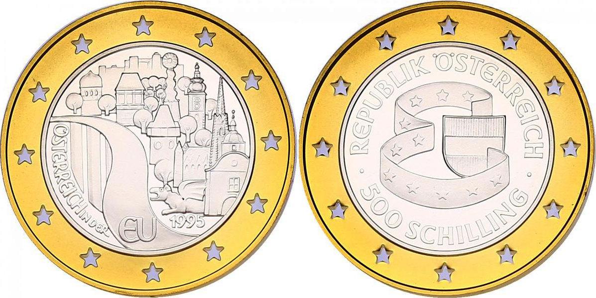 """500 Schilling 1995 Österreich - II. Republik """"EU - Beitritt Österreichs"""" pp. im Originaletui mit Zertifikat"""